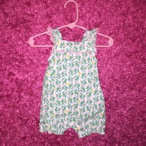 Carter's bubble romper in pink green and blue